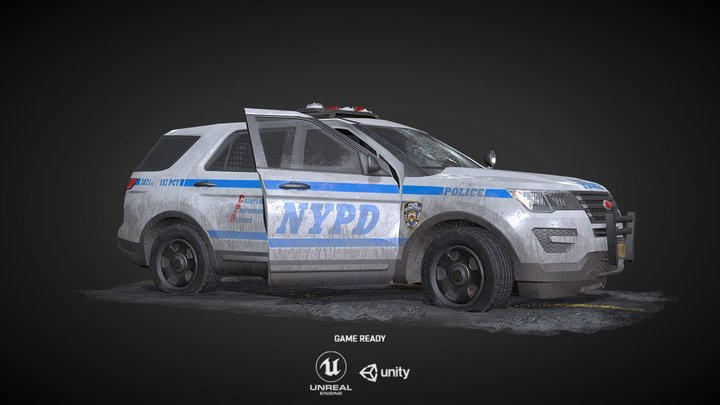 NYPD Prop Police Car - Game Ready 3D Model