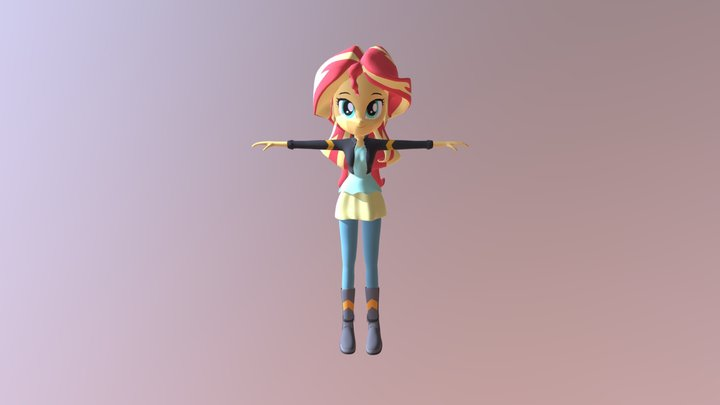 Sunset Shimmer Equestria Girls Outfit 2 3D Model