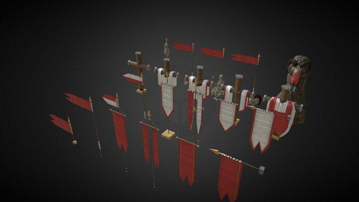 Estandartes y Banderas 3D Model