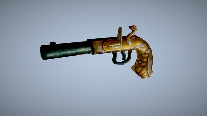 Flintlock Gun - Low Poly Game 3D Model