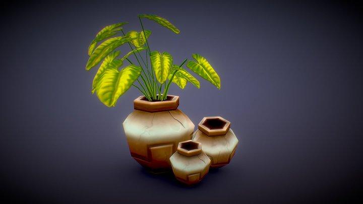 Pottery Plants Lowpoly Handpainted 3D Model
