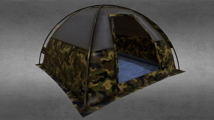 Camouflage Tent 3D Model