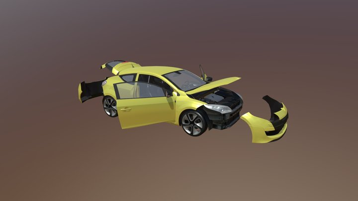 Real Car 6 Separated Parts 3D Model