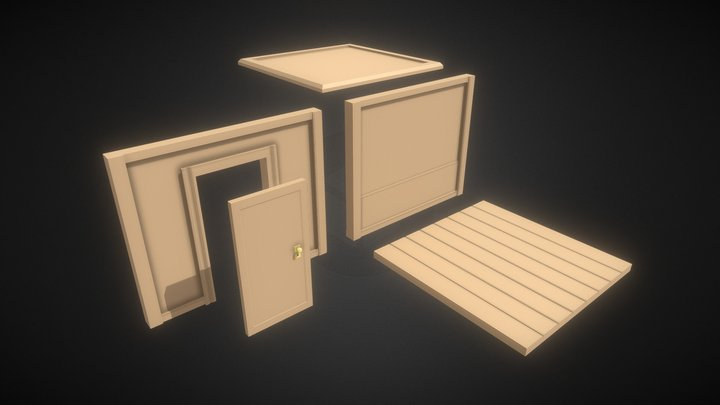 Wood Modular Building Pieces (Low Poly Style) 3D Model