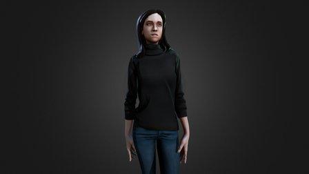 Stylized Lowpoly Female 3D Model