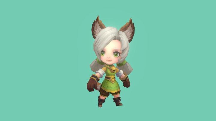 Handpaint Character-Girl1 3D Model