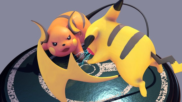 Pikachu VS Raichu - pokemon 3D Model