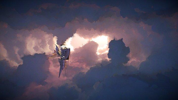 Ship in Clouds 3D Model