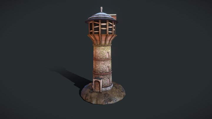 Old abandoned watertower 3D Model