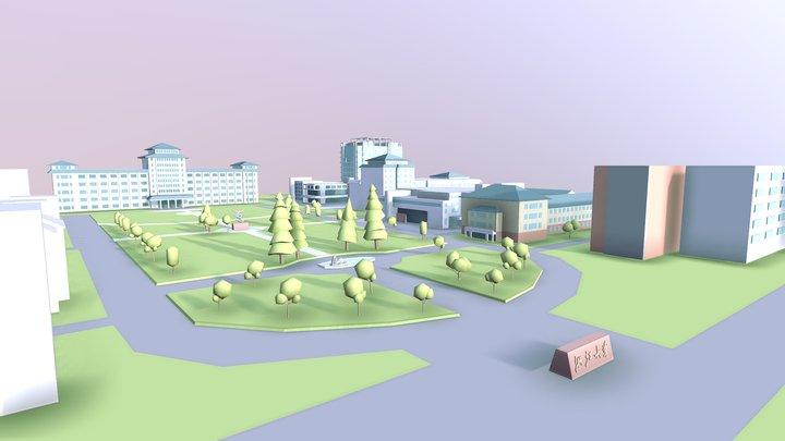 [Lowpoly]Xixi Campus,Zhejiang University 3D Model