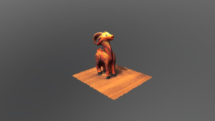 Small Painted Wooden Mexican Ram - Take 2 3D Model