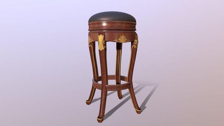 Baroque Stool 3D Model