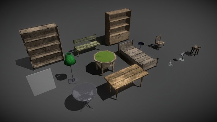 Breakable Interior Props - Low Polly - Unity 3d 3D Model