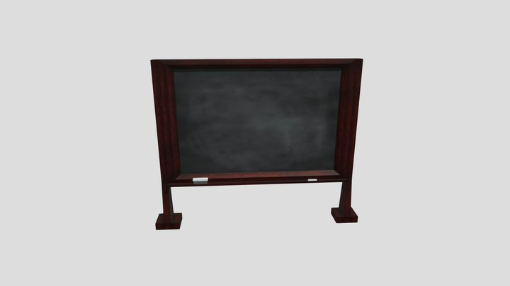 Chalkboard -Stand Alone with Dark Cherry Frame 3D Model