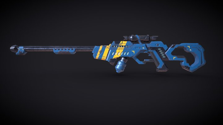 SciFi Rifle - game model study 3D Model