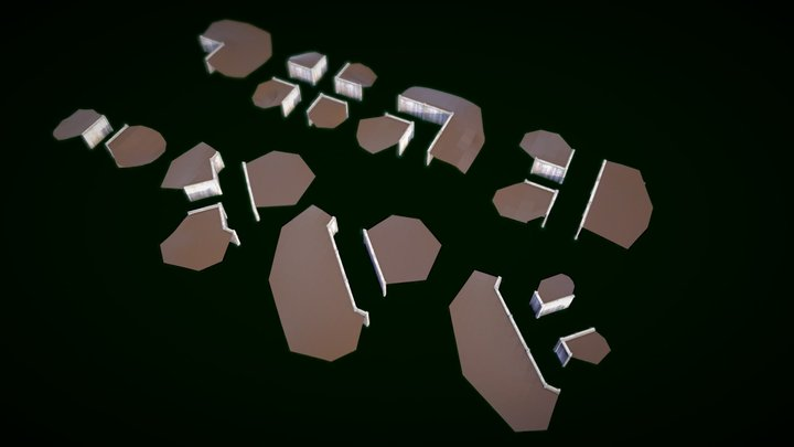 Modular Wood Trenches 3D Model