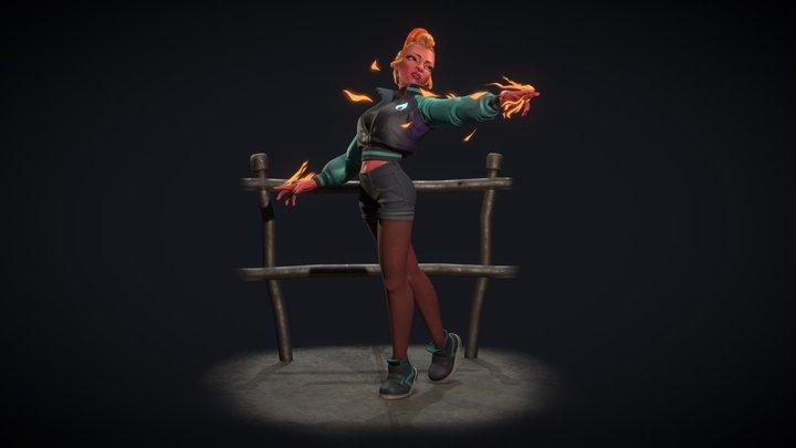 Flaming Skull Maiden - ArtWar 4 3D Model