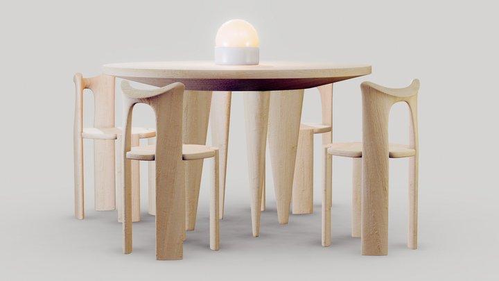 Wooden Table Set 3D Model
