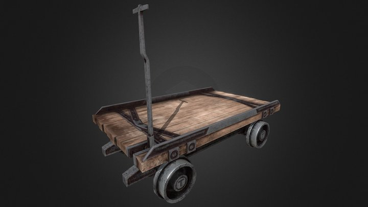 Flat Top Mine Cart 3D Model