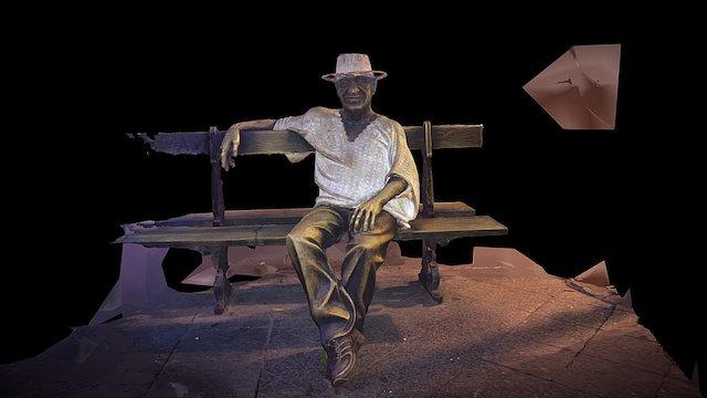 Man on a Bench (San Juan, Puerto Rico) 3D Model