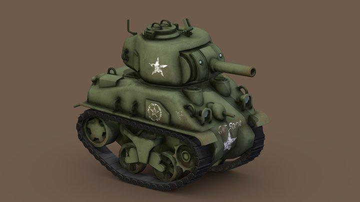 Stylized Cartoon Sherman Tank 3D Model