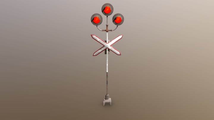 Railroad Crossing 3d low-poly model 3D Model