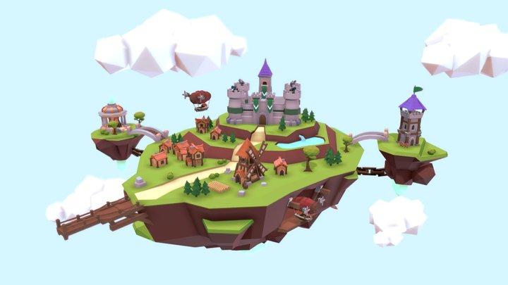 Lowpoly Fantasy Island - Floating Kingdom 3D Model