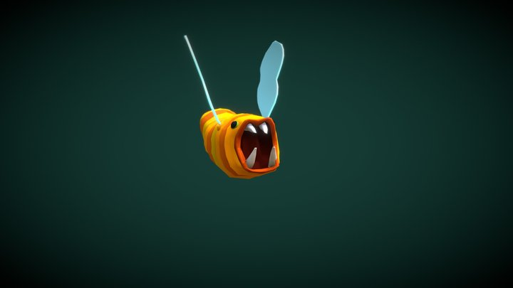 Animated: The flying Worm 3D Model