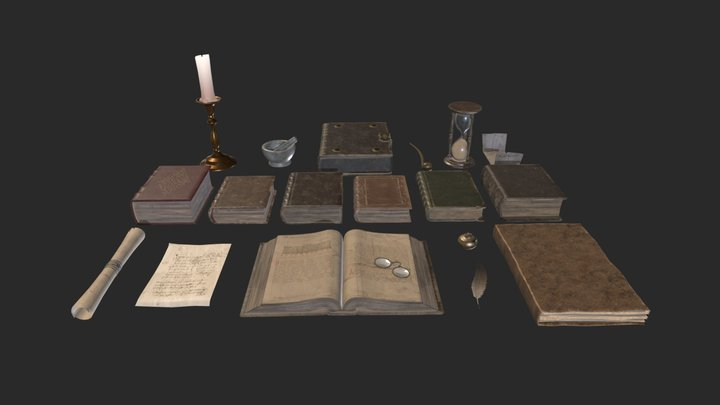 Library Books Collection 3D Model