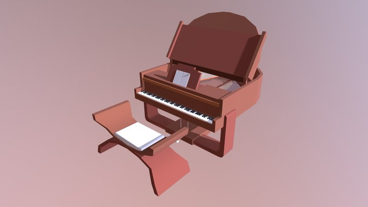 Grand Piano Lowpoly 3D Model