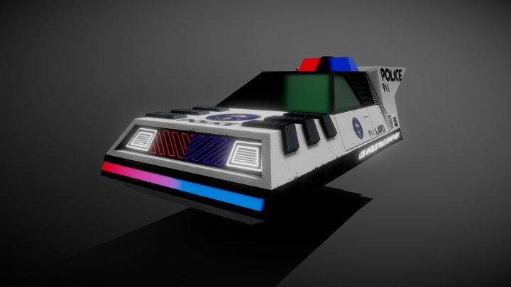Cyberpunk Low-Poly Police Car 3D Model