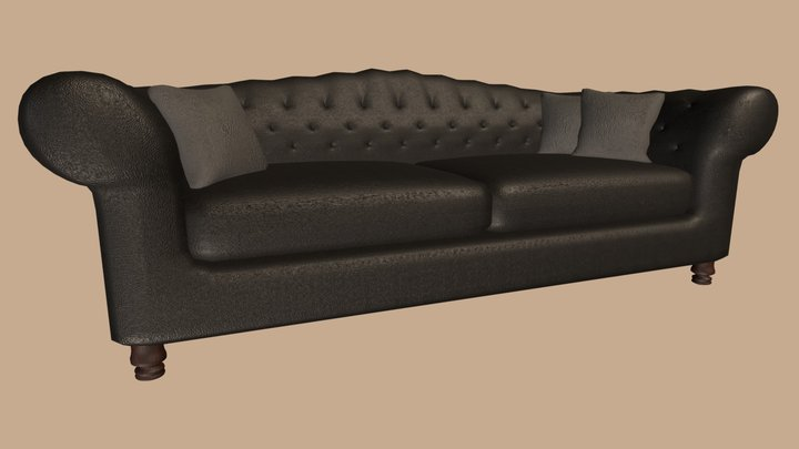 Leather Couch Black 3D Model