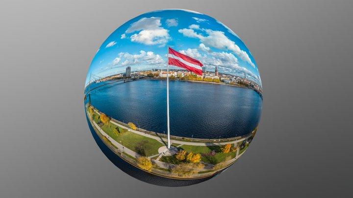 3D Sphere - Aerial 360° View of Riga 3D Model
