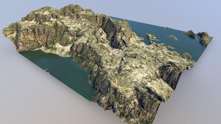 Winding Chasm Badlands - Flooded 3D Model