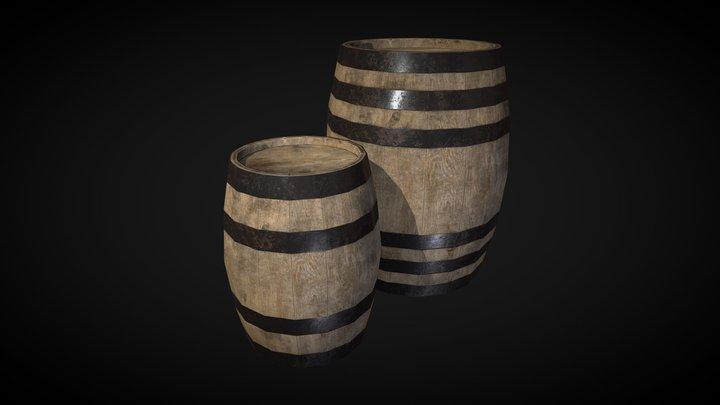Wooden Barrels lowpoly 3D Model