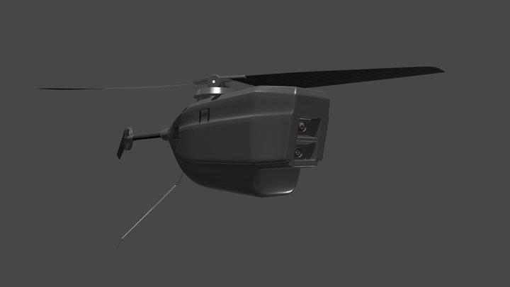 3D Render Black Hornet PD 100 Nano UAV Micro Dro 3D Model
