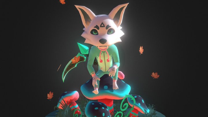 Mushroom and Wolf 3D Model