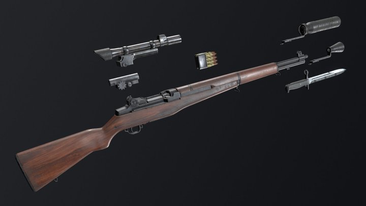 M1 Garand + Attachments 3D Model