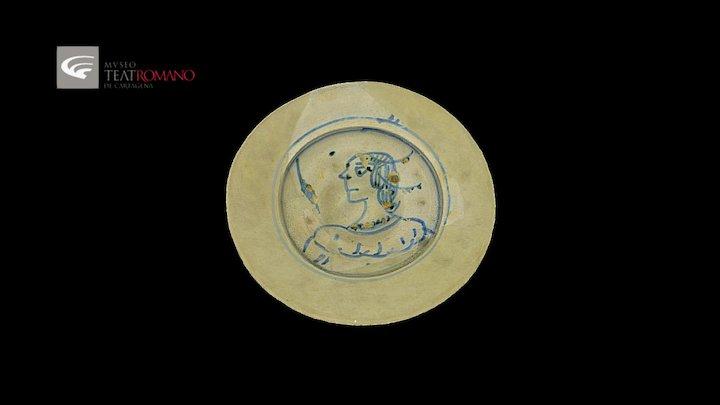 Blue fine pottery plate, Paterna-Manises region 3D Model