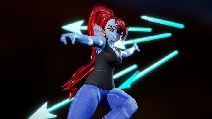 Undyne - VRChat included (no facial flexes) 3D Model