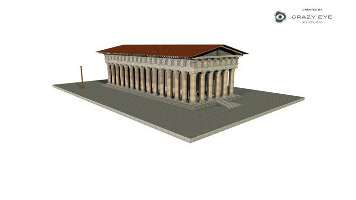 Greek doric temple (textured) 3D Model