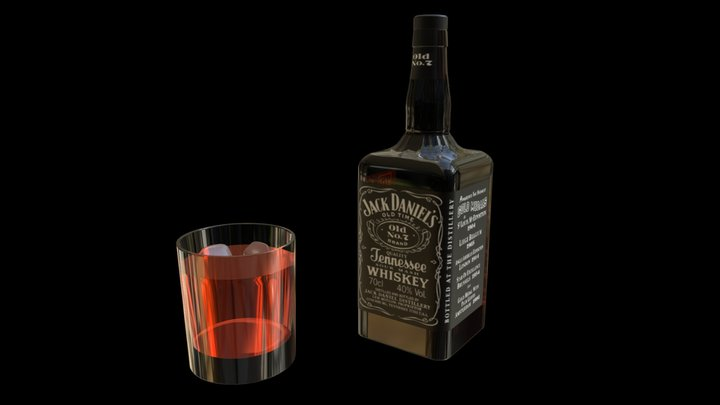 Jack Daniel's Bottle and Glass 3D Model