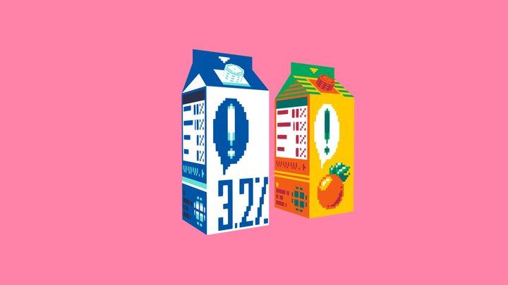 Orange Juice Box + Milk Carton 3D Model