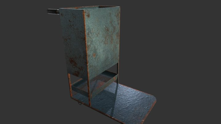 Old Rusty Cleaning Trolley 3D Model