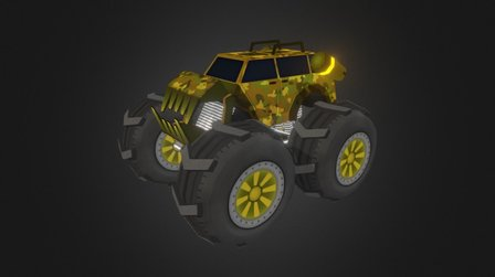 LowPoly Monster Car 3D Model