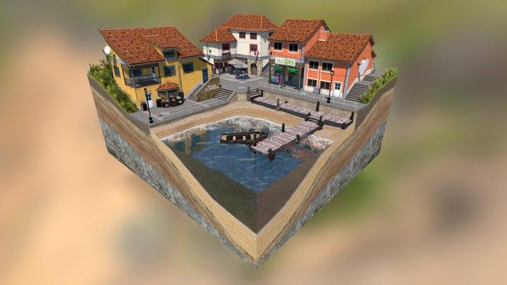 Cudillero Diorama Cityscene 3D Model