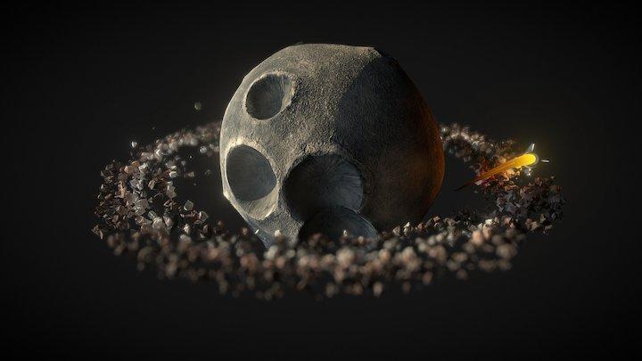Rocket Orbiting Moon 3D Model