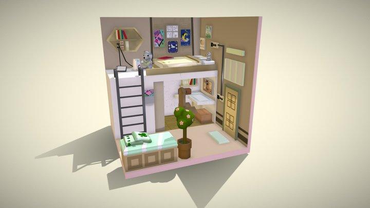 Yellow Dorm Room 3D Model