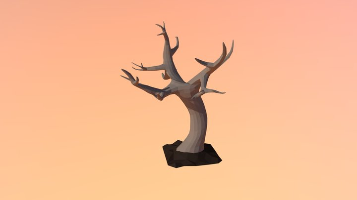 Low Poly Bare Tree 3D Model
