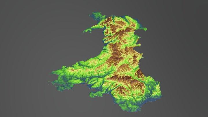 Wales Terrain Map 3D Model